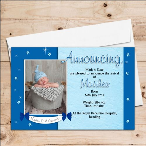 10 Personalised Baby Boy Birth Announcement Thank You PHOTO cards N103